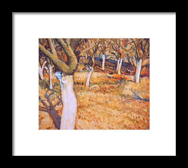Early spring in apple orchard. Impressionist oil painting by Dusan Balara