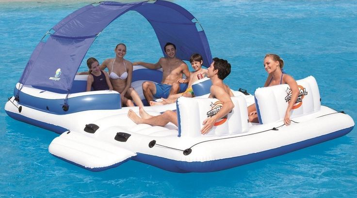 Inflatable Island with, cooler, Removable Sunshade 6 Person floating island raft  This island raft seats up to 6 people This medium size multi person floating party island is not as it seems, its a raft for the lake and … Continued