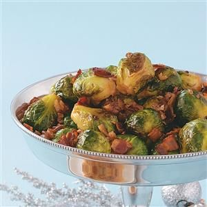 Maple & Bacon Glazed Brussels Sprouts Recipe -For special meals, here's a fantastic side dish that even children will love. The sweet maple syrup and smoky bacon complement the Brussels sprouts perfectly.—Jan Valdez, Chicago, Illinois