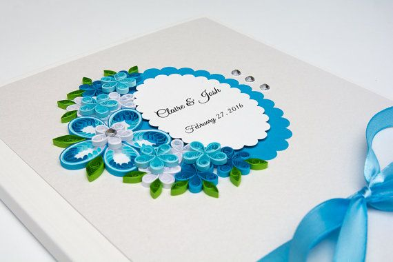 Delicate Simple Handmade Blue Wedding Guest Quilled Paper Flowers Elegant Unique Wedding Guestbook Personalized Custom Wedding Sign In Book Etsy by PaperParadisePL