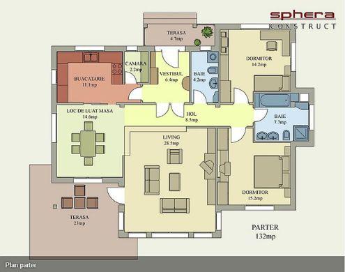proiecte de case fara etaj cu 2 dormitoare Two bedroom single story house plans 8