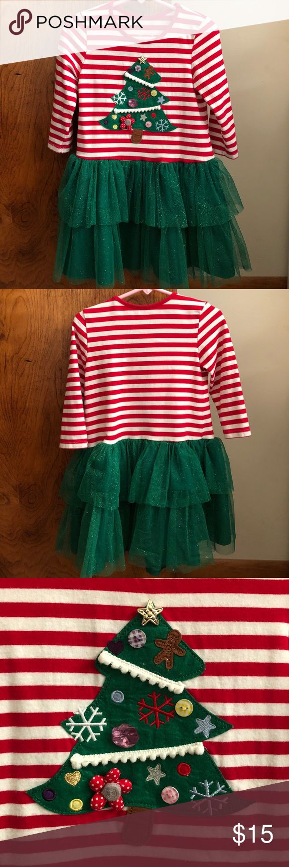 Marmellata Size 5 Christmas Tutu Dress Marmellata size 5 red and white stripe dress with sparkly green tutu.  Dress has adorable Christmas tree applique.  Great used condition; only worn and washed/hang dry a few times. Marmellata Dresses Formal