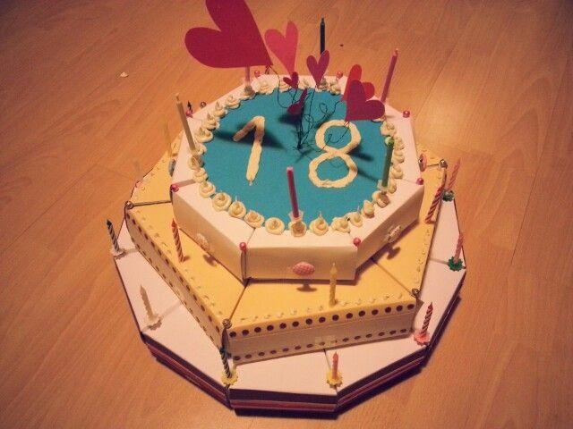 Geschenkidee zum 18. Geburtstag- Kuchenstücker gefüllt mit Kleinigkeiten
