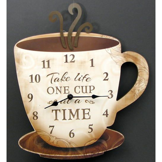Wooden Coffee Clock Take Life One Cup At A Time Large Coffee Cup Clock Great D Cor Item For Kitchen Or Coffee Area Measures 15 X X