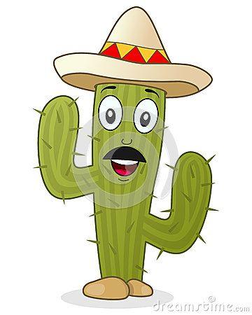 Caráter do cacto com chapéu mexicano
