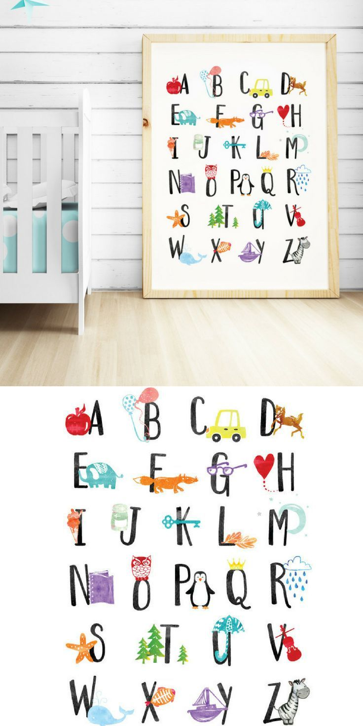 I Would Love To Get This Alphabet Wall Art For My Baby S Nursery Print Poster Abc Kids Room Decor