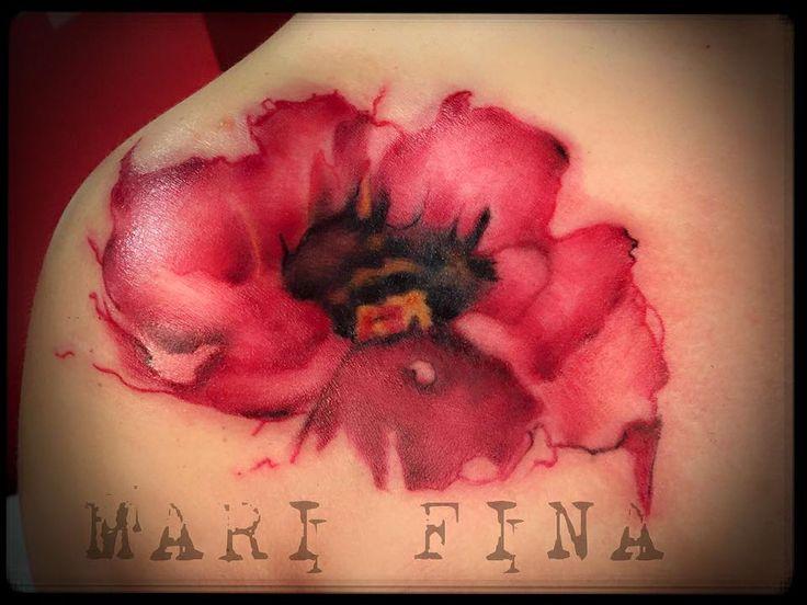 Papavero watercolor!  I love that! Tattoo Artist: Mari Fina Quando l'acqua scivola sulla carta dell'acquerello..nella pelle diventa magia.  Tatuaggio a colori http://www.subliminaltattoo.it/prodotto.aspx?pid=09-TATTOO&cid=18  #subliminaltattoofamily   #poppywatercolor   #papavero   #acquerello   #marifinatattooartist   #marifina   #tattooartist   #amore   #magia   #tecnicapittorica   #tattoo