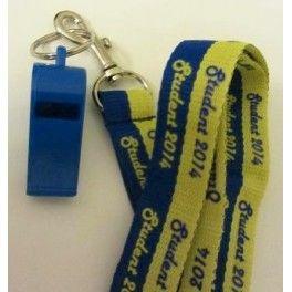 """Nyckelband med text """"Student 2014"""", blå visselpipa"""