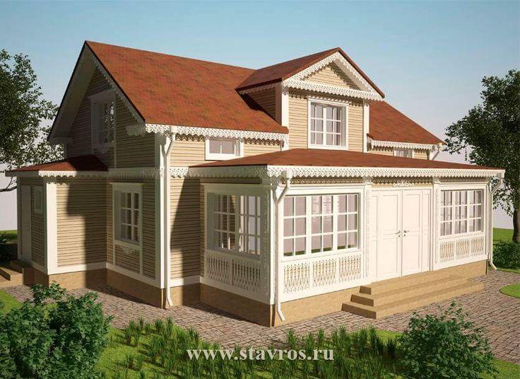 Дизайн-проект деревянного дома, украшенного резьбой.  #дом #загородноестроительство #терем #домоваярезьба #наличник