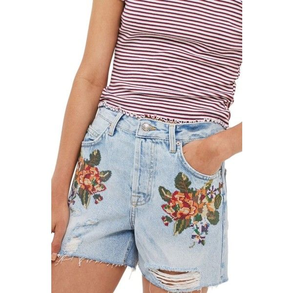 Women's Topshop Ashley Cross Stitch Vintage Floral Denim Shorts (€47) ❤ liked on Polyvore featuring shorts, light denim, flower print shorts, floral shorts, floral jean shorts, cut-off jean shorts and short jean shorts