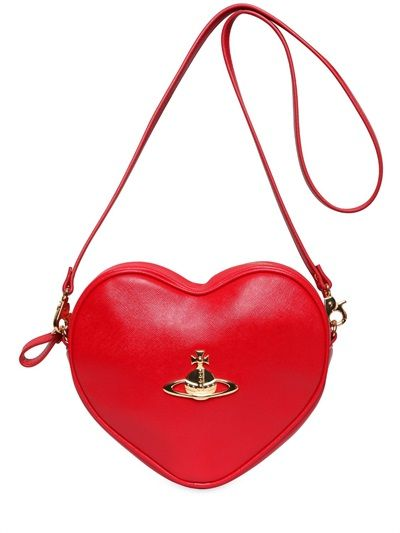 VIVIENNE WESTWOOD - DIVINA HEART SAFFIANO FAUX LEATHER BAG - LUISAVIAROMA - LUXURY SHOPPING WORLDWIDE SHIPPING - FLORENCE