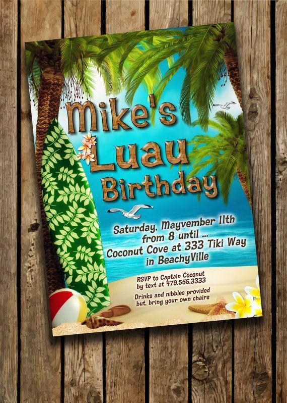 Luau Party Invitations Hawaiian Theme Party by GabriellesDreams