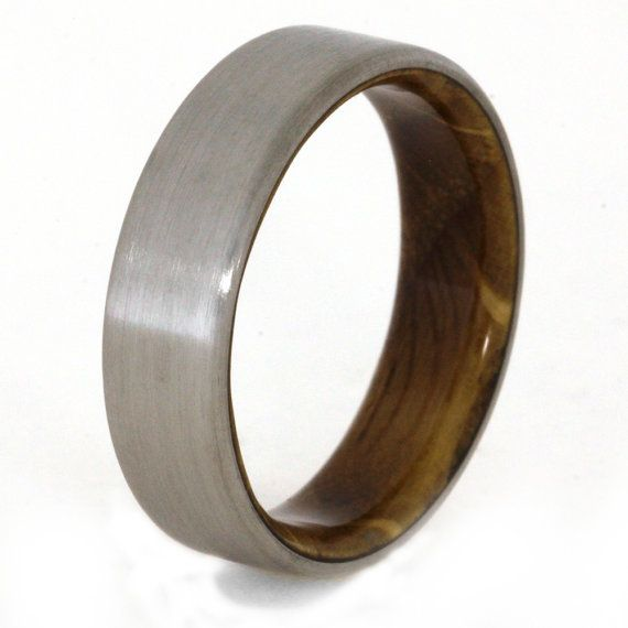 Whiskey Barrel Ring with Titanium Overlay Oak by jewelrybyjohan