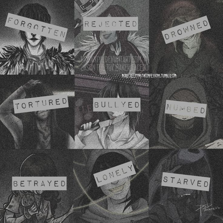 From left to right: Top- Laughing Jack, Jason the toy Maker, Ben drowned Middle- Nathan the Nobody, Jeff the killer, Ticci Toby Bottom- Sally, The Puppeteer, and Eyeless Jack Creepypasta