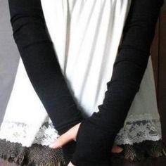 Longues mitaines noire  jersey