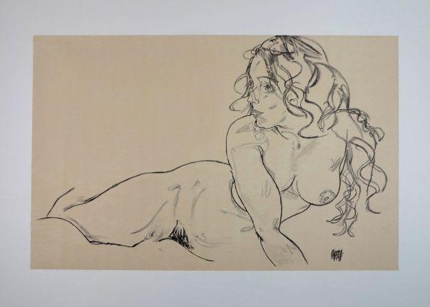 Egon Schiele, La Fille Aux Longs Cheveux / The Girl With Long Hair - 1918