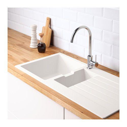 HÄLLVIKEN Inset sink, 1 ½ bowl w drainboard  - IKEA