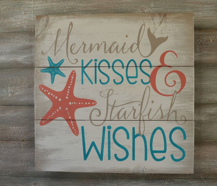 Mermaid Sign - Mermaid Decor - Rustic Wood Sign - Mermaid Kisses and Starfish Wishes - Mermaid Wall Decor -  Beach Theme Decor - Beach Sign by OnALimbCreations on Etsy