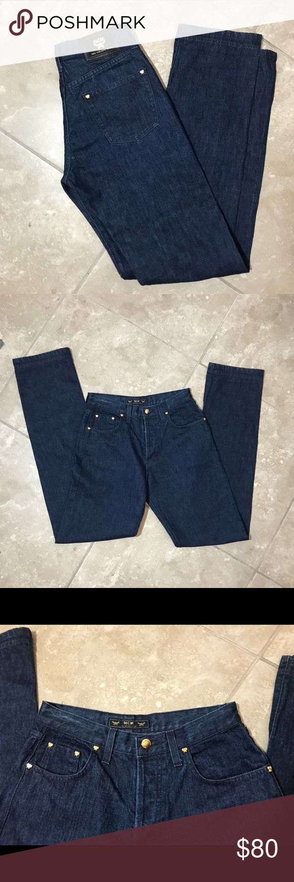 """Rare High Waisted MCM Jeans Rare find! Made in Italy Truly one of a kind and an amazing wash. High quality denim from the MCM brand!! Tag bot attached, here are measurements: Waist 14"""" Hip 19"""" Inseam 34"""" 100% Cotton MCM Jeans"""