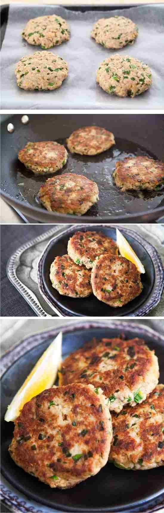 Tuna Patties - black pepper, bread, butter, green onion, healthy, hot, lemon, mustard, parsley, patties, pepper, recipes, sauce, tobasco, tuna