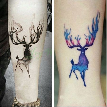 Etiqueta Engomada Del Tatuaje Temporal a prueba de agua 10.5*6 cm elk alce ciervo bucks tatuaje Falso Tatuaje de Transferencia de Agua tatuajes de Flash para los hombres de la muchacha