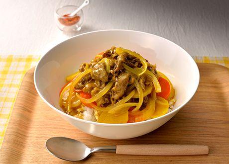 簡単 しゃぶしゃぶ肉と薄切り野菜のカレー丼 (レシピNo.2731)|ネスレ バランスレシピ