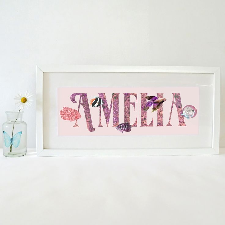 Girls Pink & Coral Framed Custom Name Plaque Tropical Fish - Underwater Nursery, Personalised Gift for Kids, Baby Name Sign