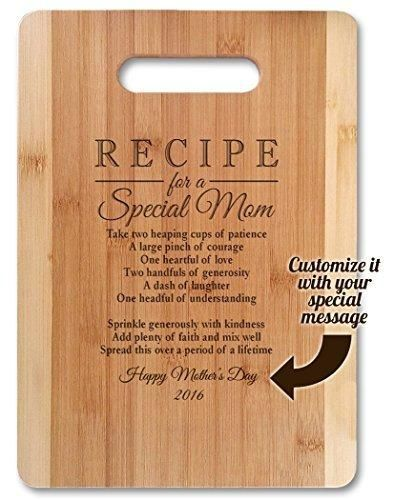 "Mothers Day Gift Recipe for a Special Mom ( Medium 13""x9.5"" Customized ) Bamboo Serving Cutting Board for Mothers Day Birthday or Christmas"
