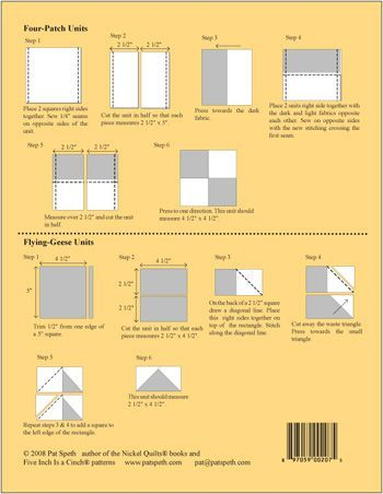 A quick reference guide showing how to turn 5-inch squares into multiple units. Instructions include how to make Four Patches and Flying Geese Units