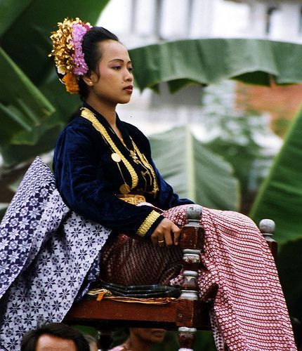 This bride is carried as part of the festivities in Lombok, Indonesia