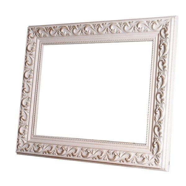 Marco con talla blanco decapado moldura de madera de 7 cm for Espejo marco ancho