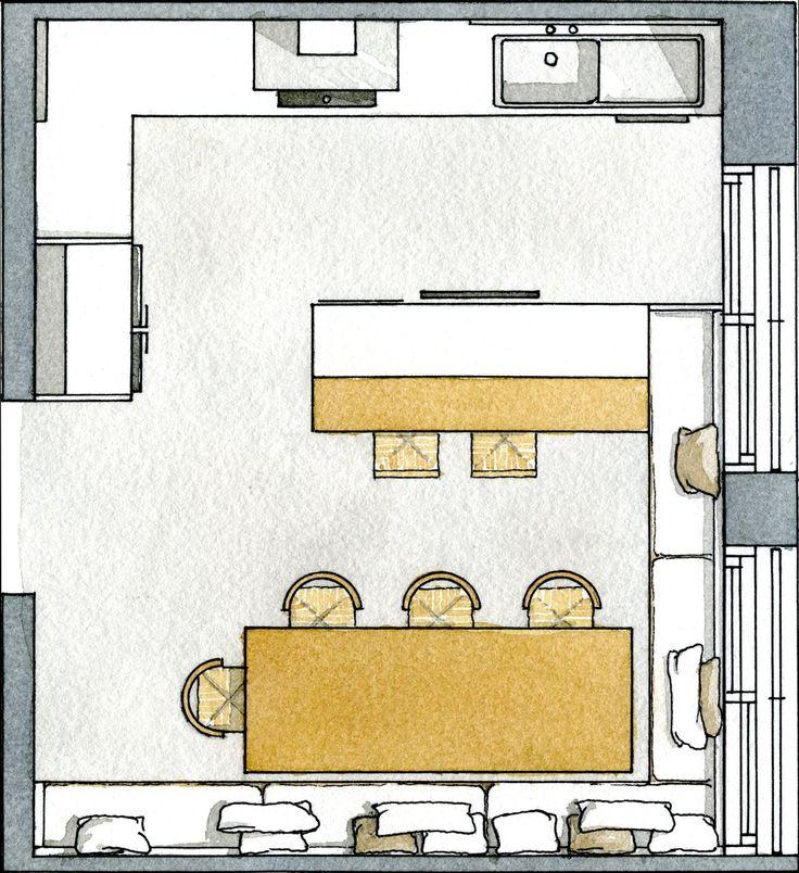 17 mejores ideas sobre planos de casas peque as en for Planos de cocinas 4x4