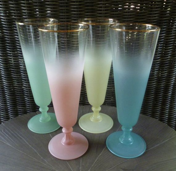 Blendo Drinking Glasses. Vintage 1950s. Set of 4 (or 8). Tall, Stemmed. Pastel Colors. Mid Century Modern. Cocktail Beer Champagne Iced Tea. on Etsy, $38.00