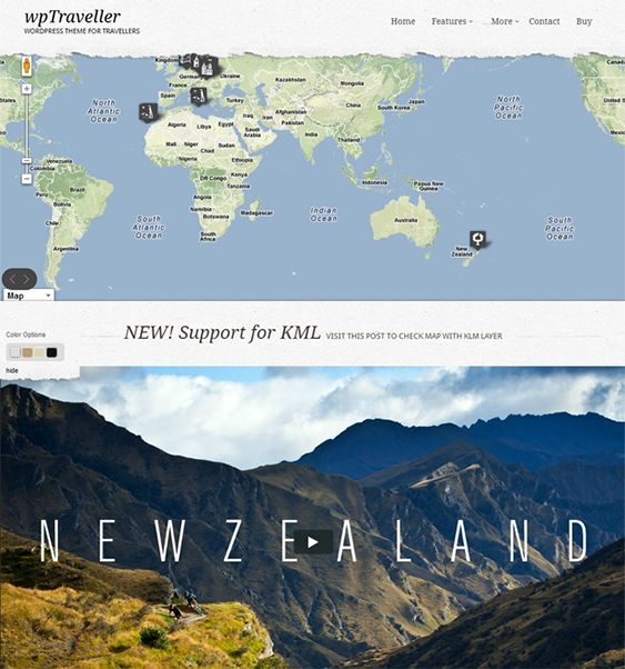 This WordPress travel theme includes advanced Google Maps integration, 4 preset colour variations, PrettyPhoto, dynamic image resizing, a shortcode generator, unlimited sidebars, custom social media widgets, and more.