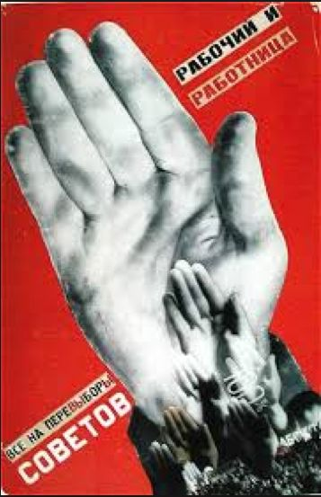 Gustav Klutsis, Workers, 1930.  An example of a Constructivism era poster