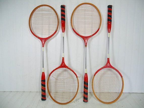 Retro Wooden Badminton Rackets Matching Set of 4 - Vintage Hi-Spede OutDoor Sports Equipment - Repurpose Gameroom Decor Group Made In Japan $46.00