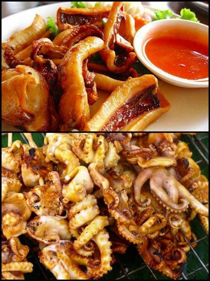 Thai street food, Octopus and Street food on Pinterest
