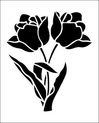 Tulips stencil from The Stencil Library BUDGET STENCILS range. Buy stencils online. Stencil code SS33.