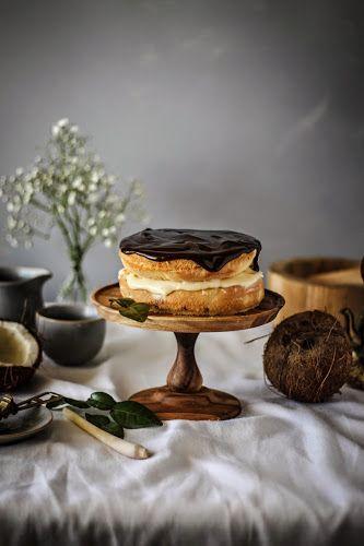 Boston Cream Pie with Kaffir Lime Leaf and Lemon Grass infused Coconut Milk Custard | Twigg Studios