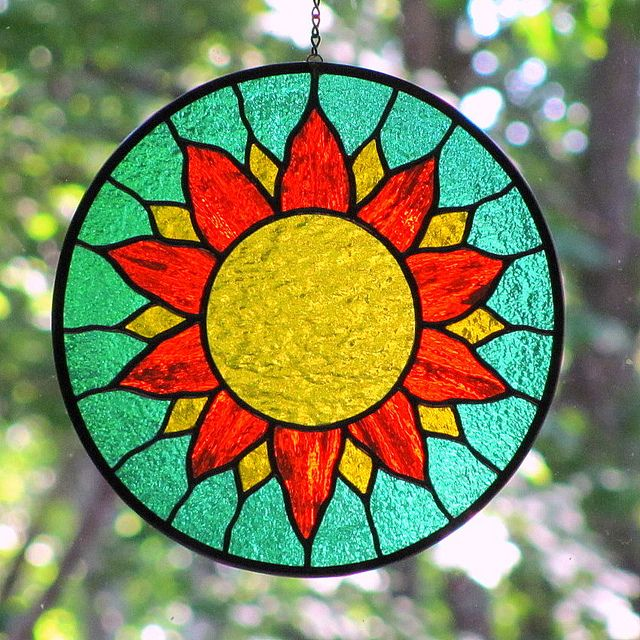 Stained Glass Yellow Orange Sun by livingglassart home of oddballs and oddities, via Flickr