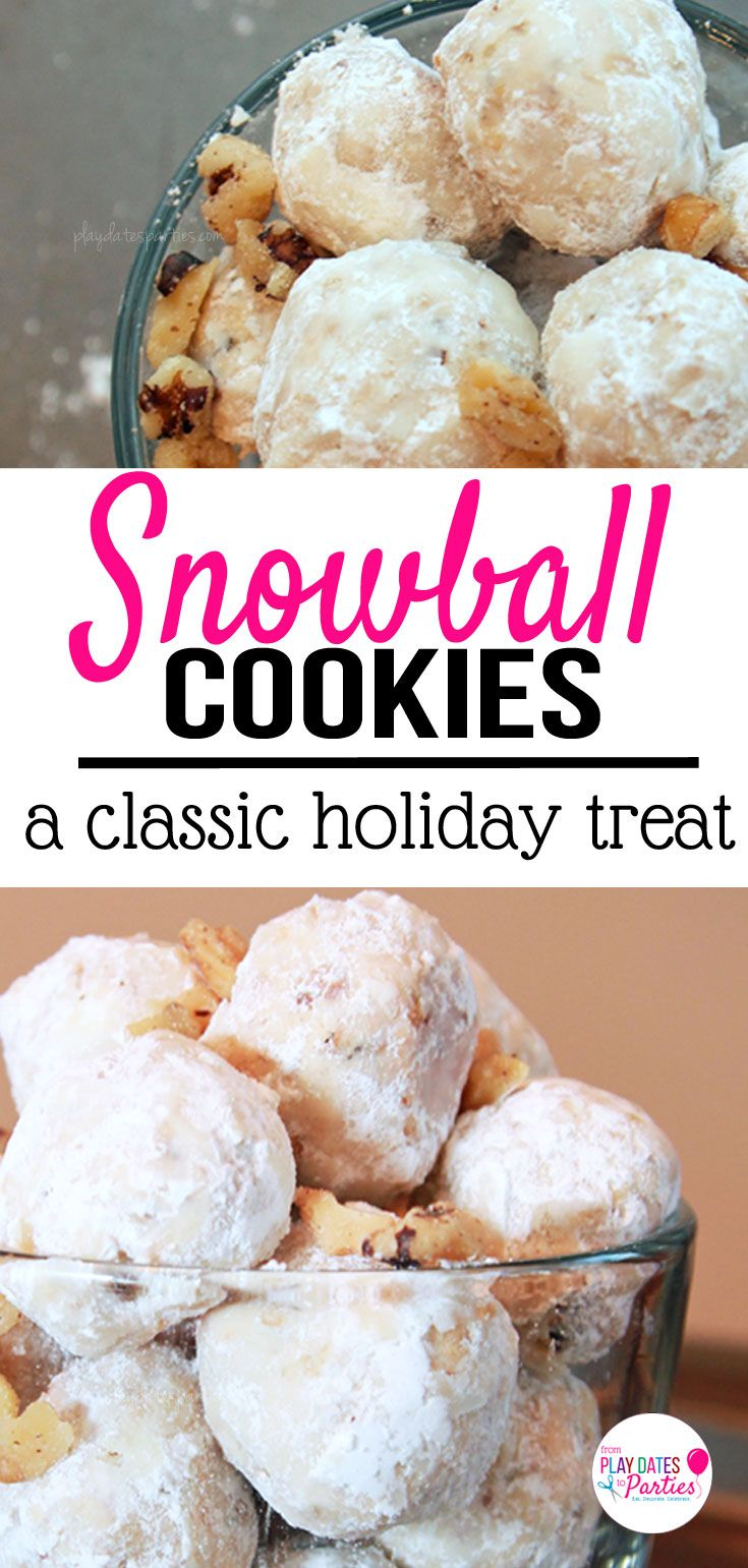 Classic snowball cookies (also known as Russian Tea Cakes) are crunchy, sweet, and completely irresistible. Who cares if there's actually snow on the ground when you can enjoy these cookies? http://playdatesparties.com/12-days-of-christmas-cookies-snowballs/