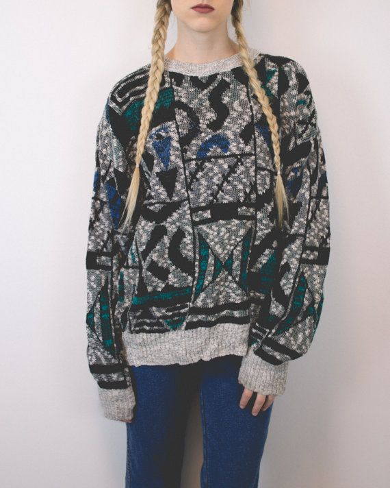 Vintage Aztec Tribal Print Crew Neck Pullover Graphic Basic Large Oversized Boyfriend Cosby Sweater -S19
