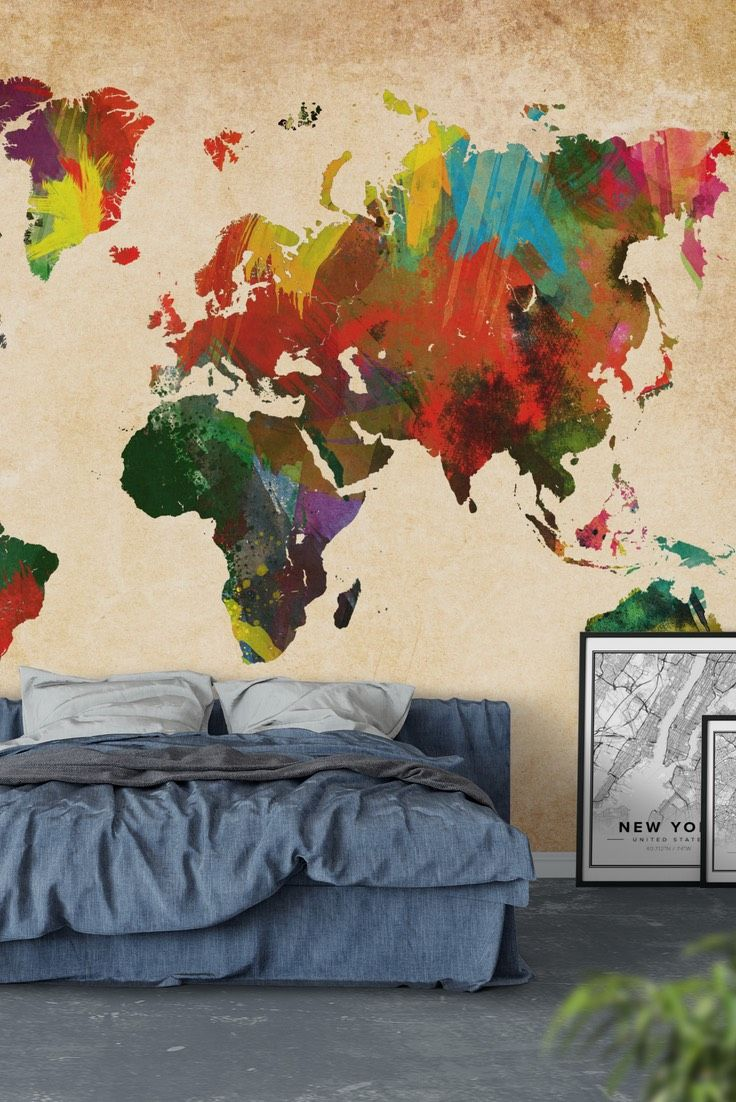 33 best map wall murals images on pinterest murals wall murals colored world map wall mural wallpaper gumiabroncs Gallery