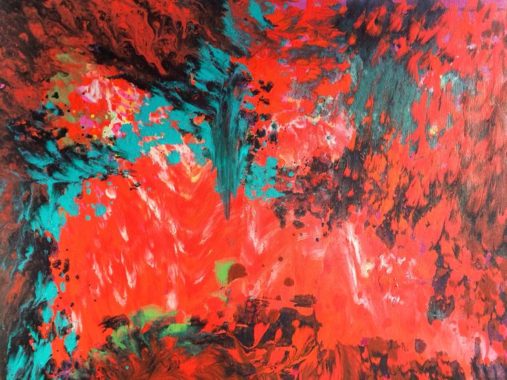 Abstract acrylic on canvas; red and turquoise