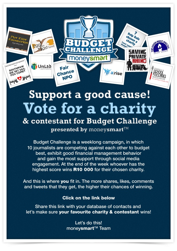 Budget Challenge presented by moneysmart Support a good cause! emailer
