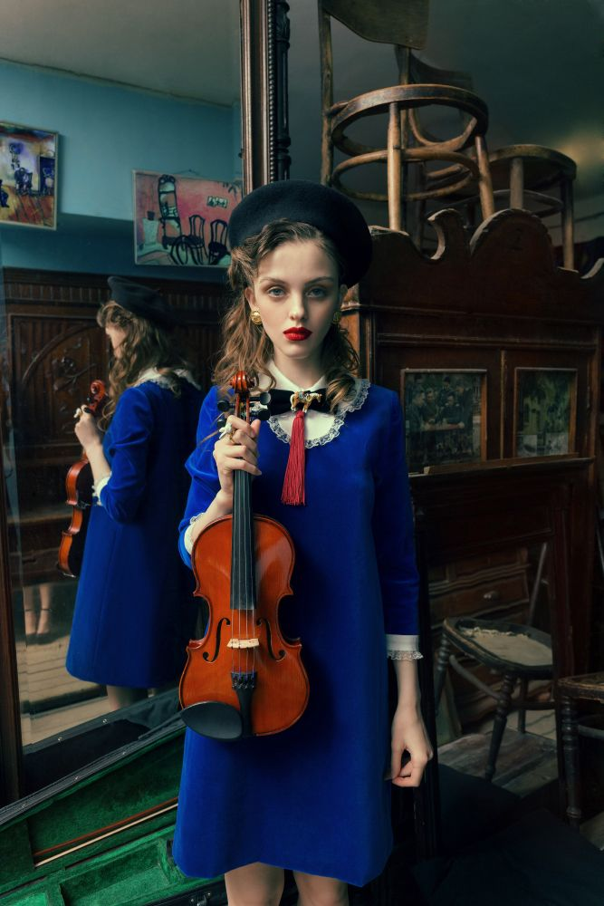 "Muse and violinMuse and violin  PHOTOGRAPHER: ANDREY YAKOVLEV Art director: LILI ALEEVA MODELS: ANISIA, RISHA (ABA models) MUAH:PAVEL NATSEVICH STYLE: HANNA YATSKO, RUSLAN SHAKUROV For collection Hanna Yatsko ""For Chagal"""