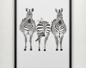 Zebra Schirm gedruckte Poster - Zebras Poster - Zebra Kunst - Tier-Poster - Safari Art - Safari Poster - Zebra Kinderhort - Zebra Dekor