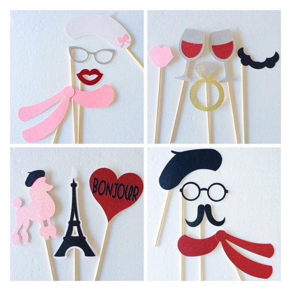 Parisian Photo Booth Props : Paris Bridal Shower Decorations ; Bachelorette Party Glitter Photo Booth Props ; Bachelorette Party Decorations by Lets Get Decorative