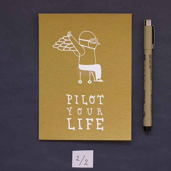 Joanna Wiejak - Illustration d'un jeune aviateur, sérigraphie tirage limité, carte dorée