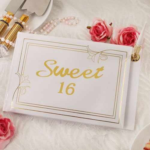 """Add some extra class to your daughters Sweet 16 party with an elegant guest book! Ruby Blanc's """"Sweetest Wishes"""" guest book is a portrait of style and elegance.  #guestbooks #sweet16 #guestbook #partysupplies #sweet16birthday #rubyblanc"""